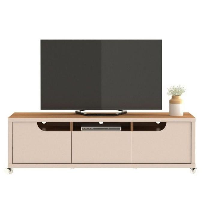Rack Casa D Jersey 2.2 Off White/Noce para TVs de até 65 polegadas