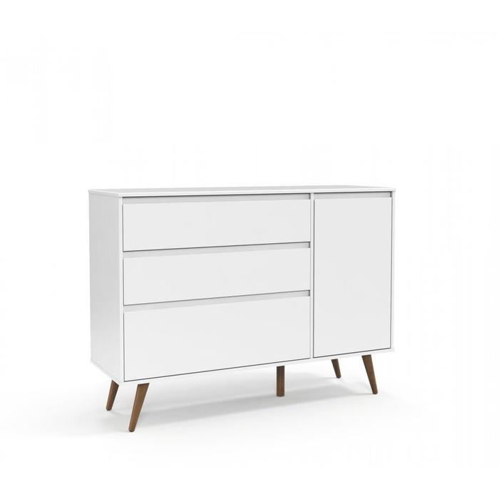 Cômoda Matic Retrô Clean 3 Gavetas com Porta Branco Soft Ecowood