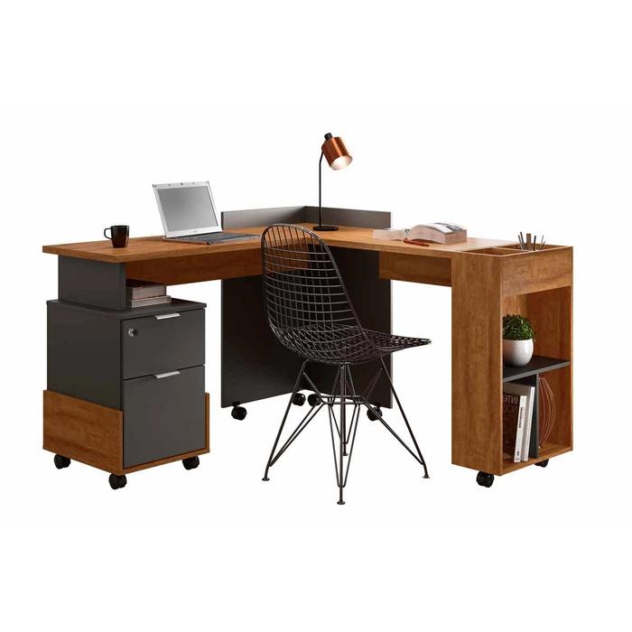 Conjunto Escrivaninha Lukaliam Alessa Modulo Office Amendoa Chumbo