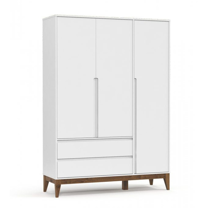 Guarda Roupa Nature Clean 3 Portas Branco Soft com Eco Wood