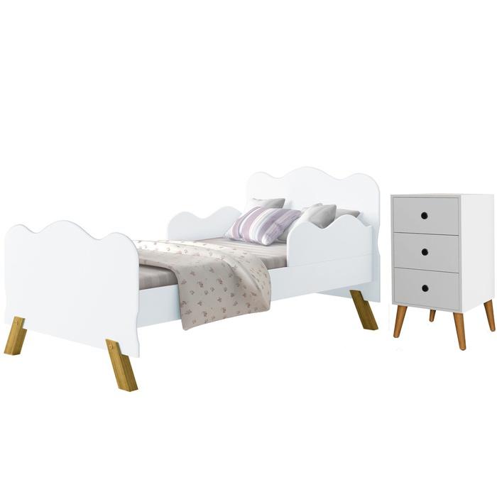 Conjunto cama Angel e Mesa de Cabeceira Ben Branco