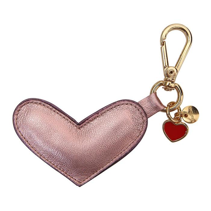 Chaveiro Coração Couro Metalizado Rosa