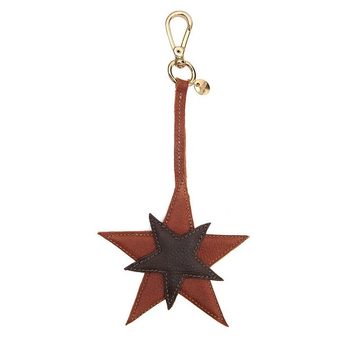 Chaveiro Estrelas Couro Havana Com Marrom