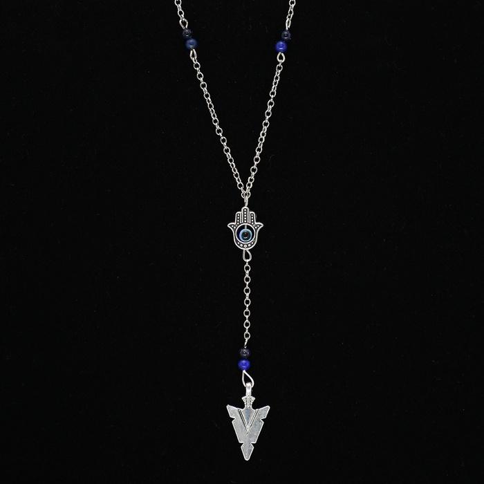 Colar Terço Triângulo e Mão De Fátima Com Pedra Natural Lápis Lazuli