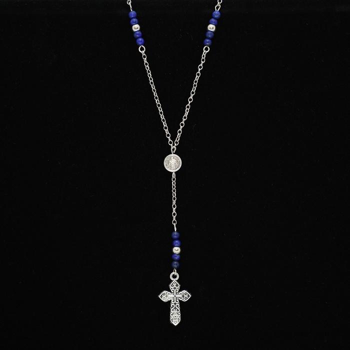 Colar Terço Cruz Com Pedras Naturais Lápis Lazuli