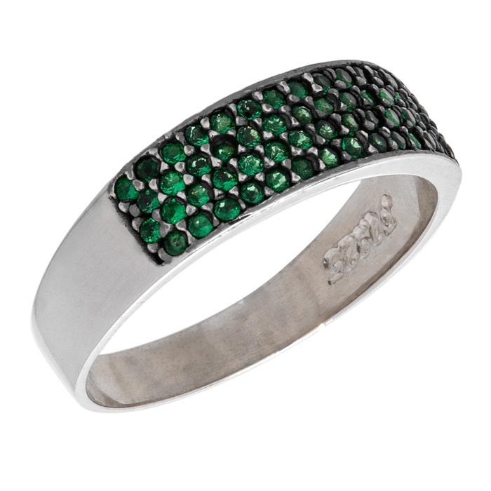Anel Zircônia Verde 4 Fileiras Prata 925