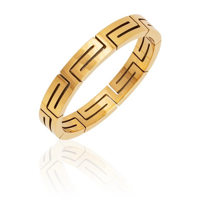 Anel Organograma Versace Aço Inox Dourado