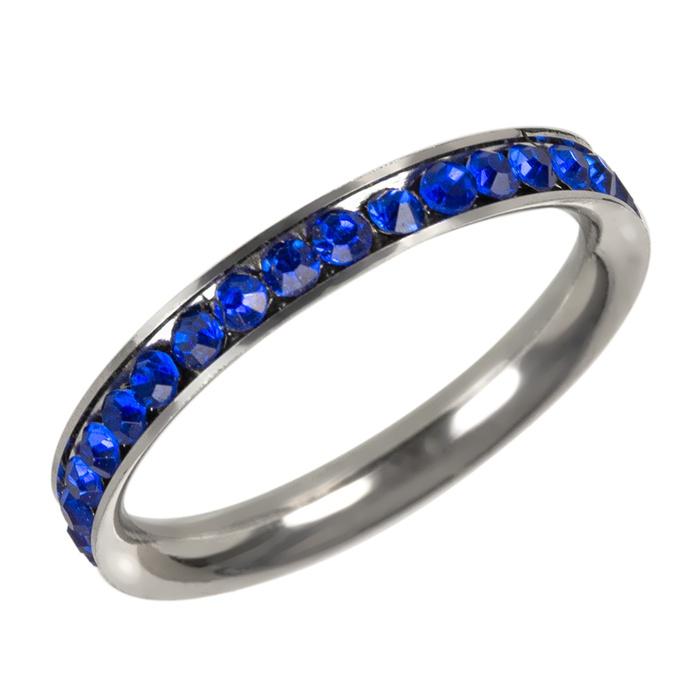 Anel Pedra Azul Aço Inox (sem garantia)