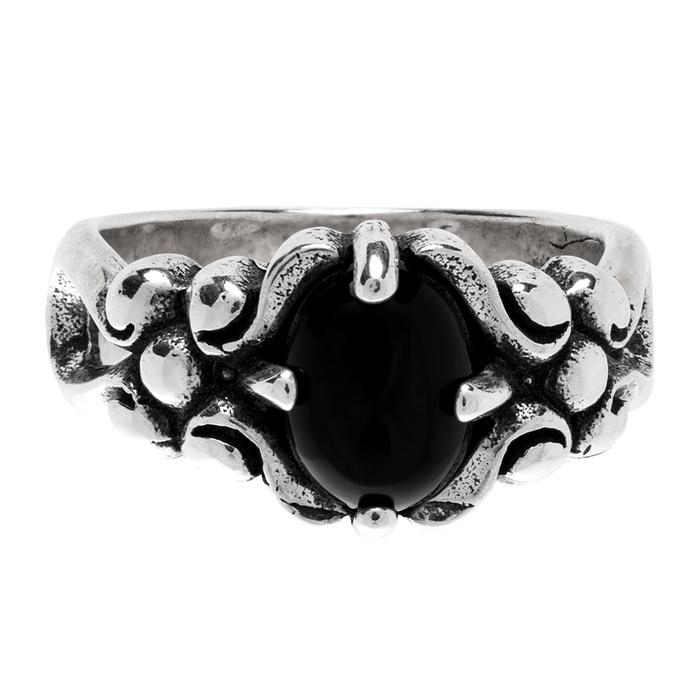 Anel Pedra Ônix Negra Garras Prata Rústica 925