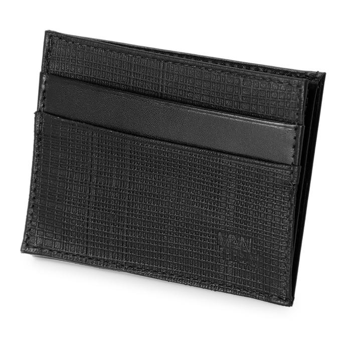 Carteira Porta Nota Bolso E Cartão Couro Raiado Preto