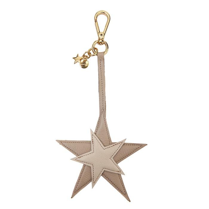 Chaveiro Estrela Couro Legítimo Bege
