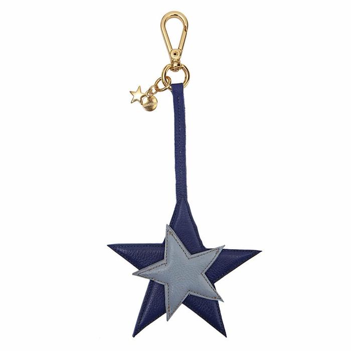 Chaveiro Estrela Couro Legítimo Azul