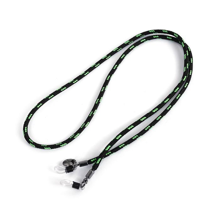 Cordão De Óculos Náutico Preto Com Verde Fluor