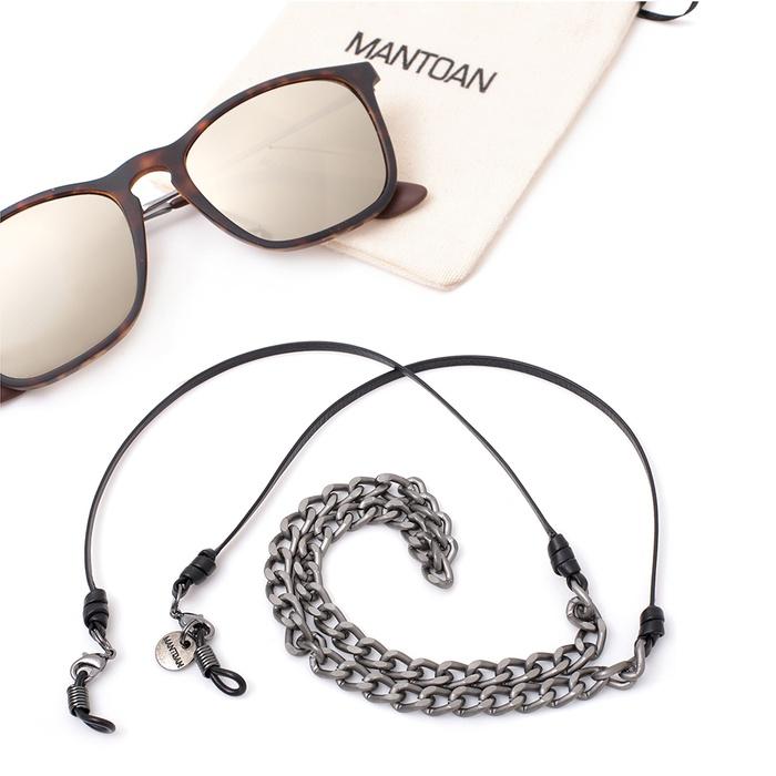 Corrente De Óculos Ônix Com Fio De Couro