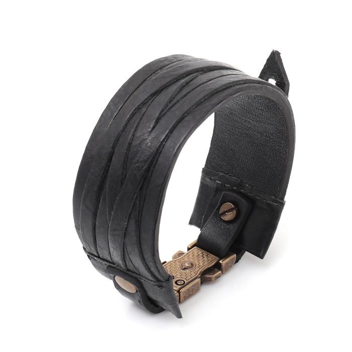Mp711 Pulseira Bracelete Couro Preto