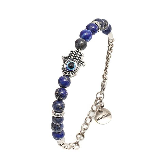 Pulseira Mão De Fátima Mp600 Pedra Lápis Lázuli
