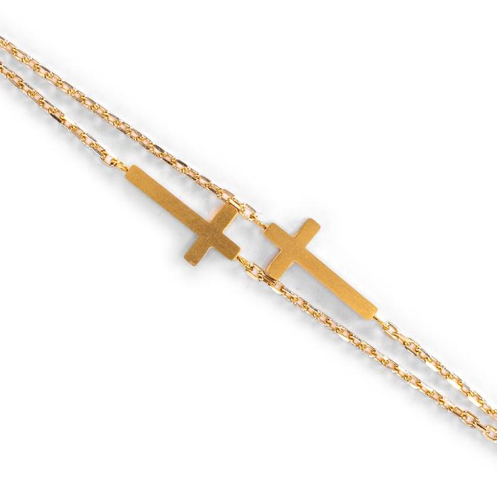Pulseira Cruz Corrente Cartier Semijoia Ouro