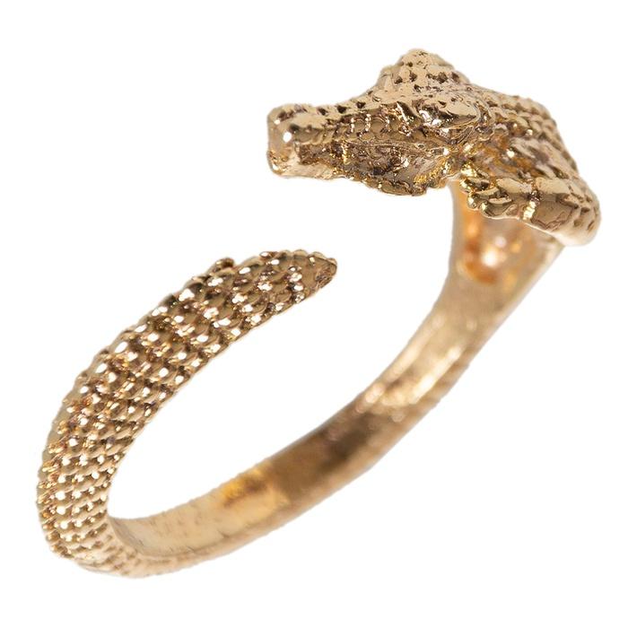 Anel Regulável Crocodilo Semijoia Ouro
