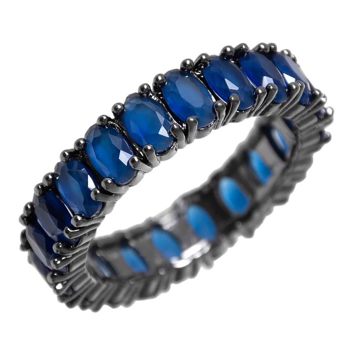 Anel Zircônia Azul 5 mm Ródio Negro