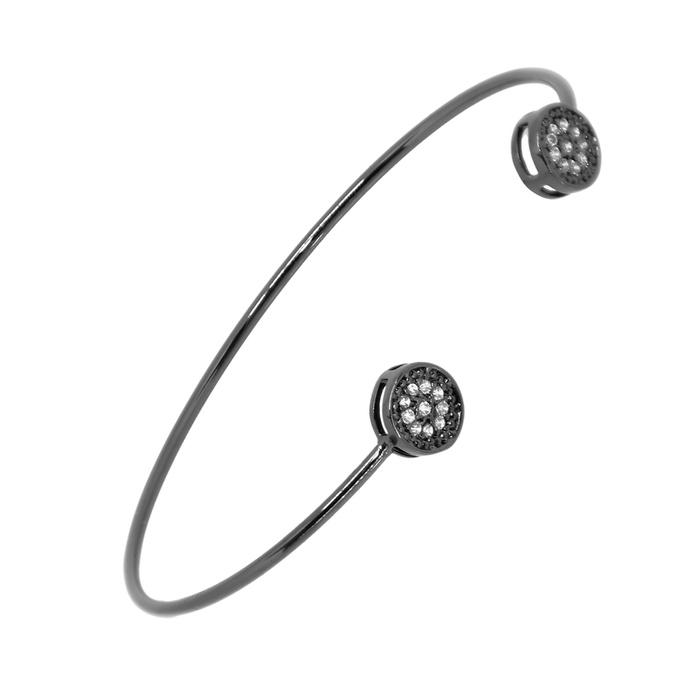 Bracelete Mandala Cravejada Incolor Ródio Negro Semijoia