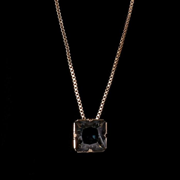 Colar Zircônia Quadrada Preto 8x8mm Ouro