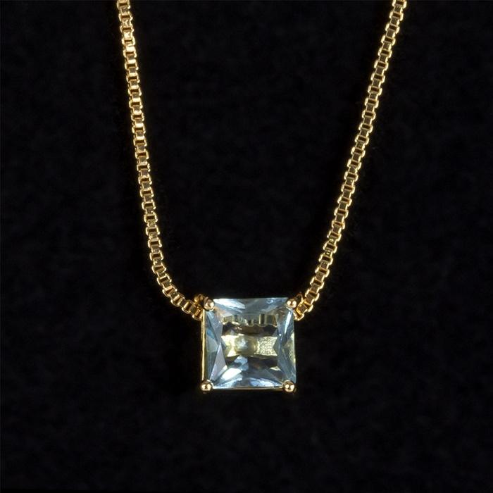 Colar Zircônia Turquesa Quadrado 6x6mm Ouro
