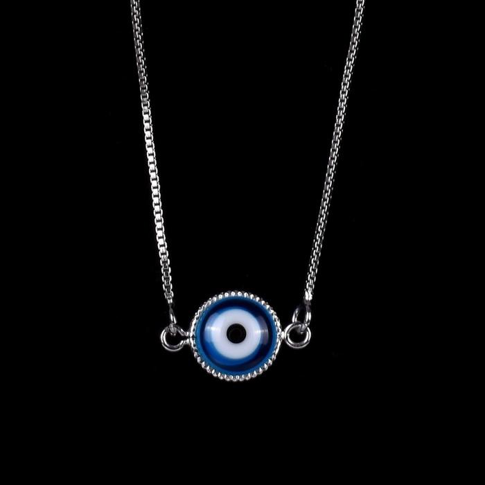 Escapulário Olho Grego Emoldurado Azul Turquesa Semijoia RB