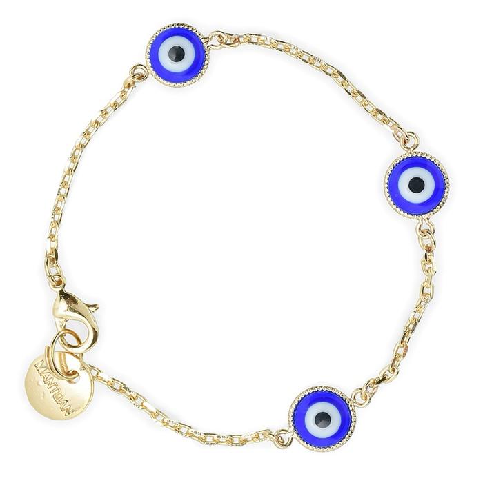 Pulseira Olho Grego Azul Ouro