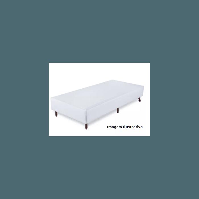 Base Box de Solteiro 88x188x30 Branco com Pés de Madeira