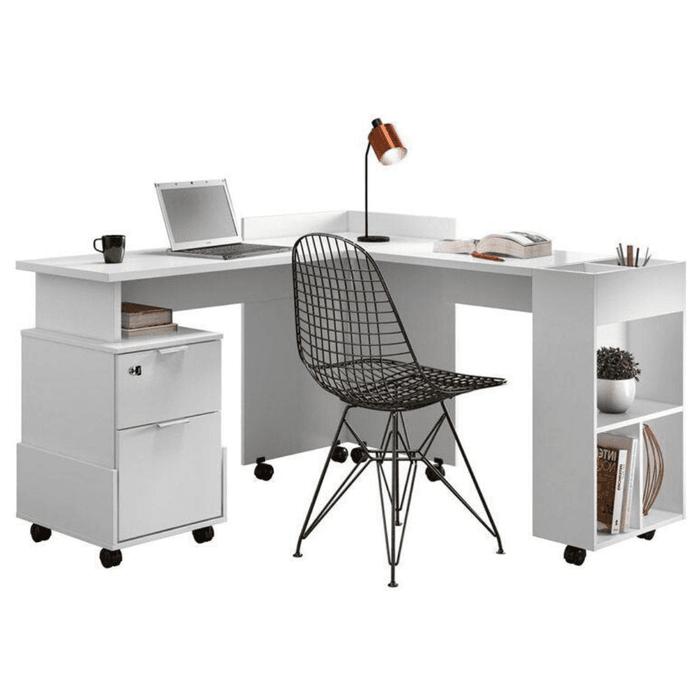Conjunto Escrivaninha Lukaliam Alessa Modulo Office Branca