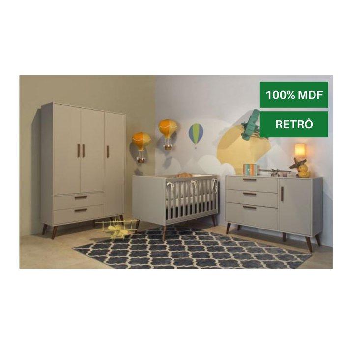 Conjunto Matic Retrô Berço Americano, Cômoda 3 Gavetas, Guarda Roupa 3 Portas Cinza / Ecowood