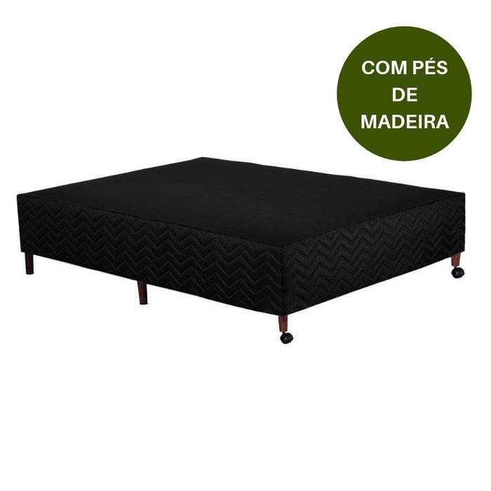Base Box de Casal 138x188x30 Preto com Pés de Madeira