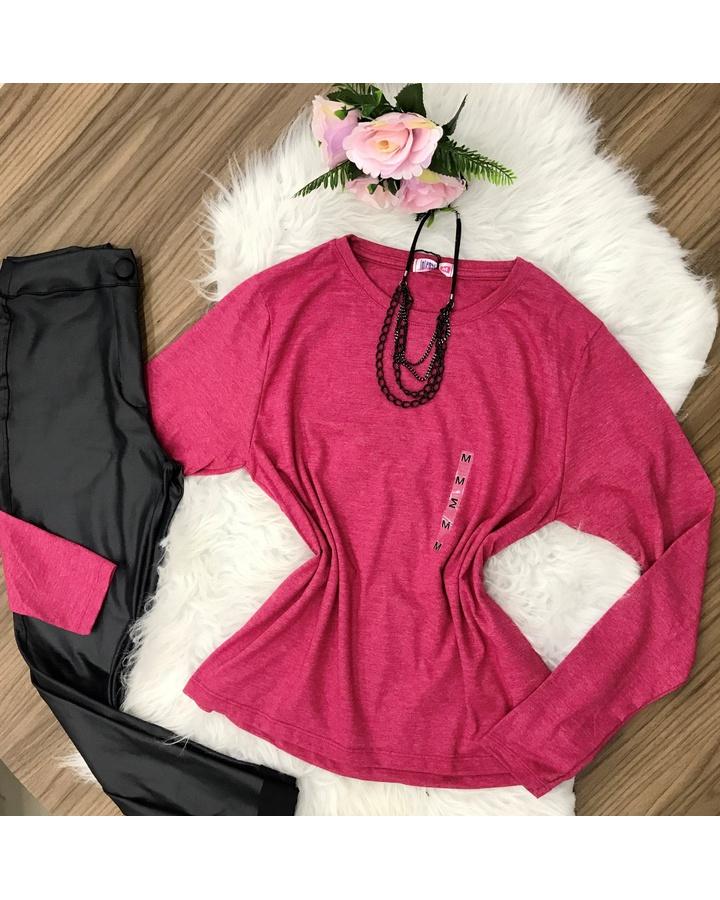 Blusa Lisa - Manga Longa - Básica |rose