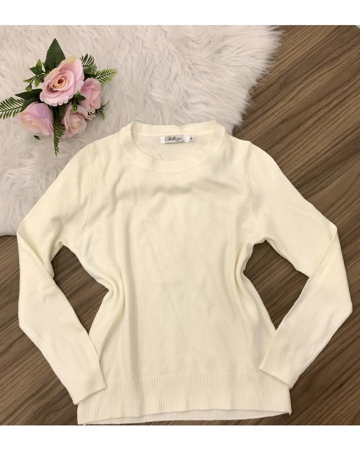 Blusa Trico Lisa - Creme