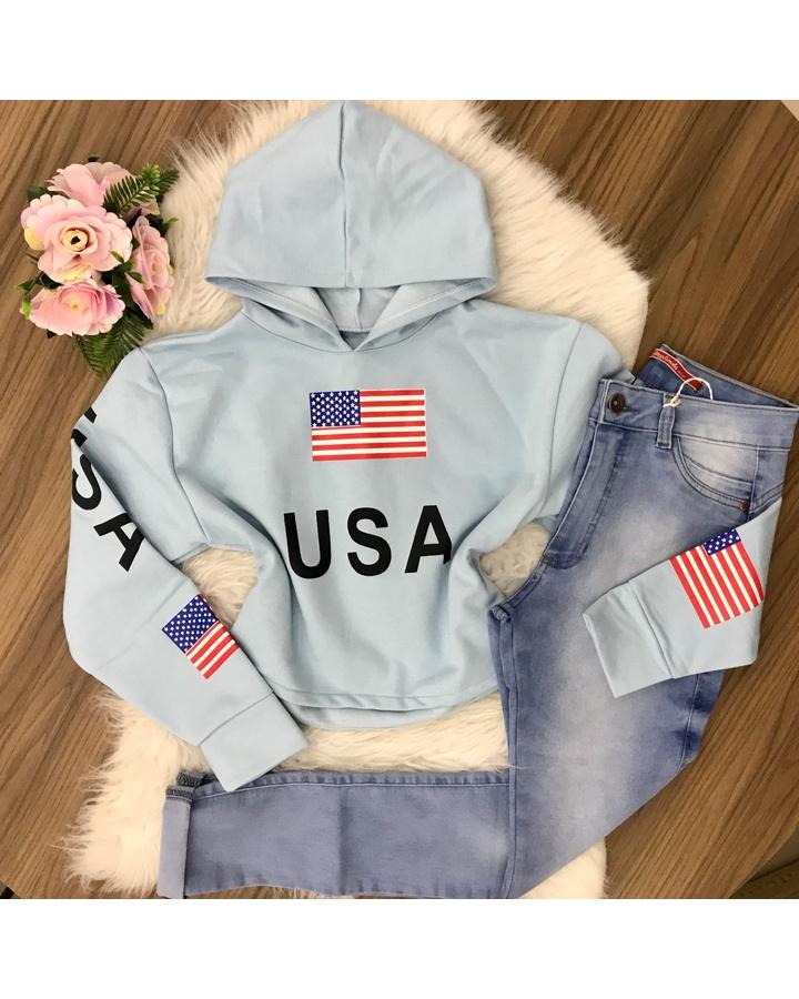 Blusa Moletom Usa C/ Capuz - Azul Bebê