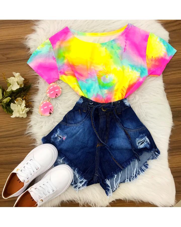 Blusa Tie Dye - Amarelo/rosa/azul