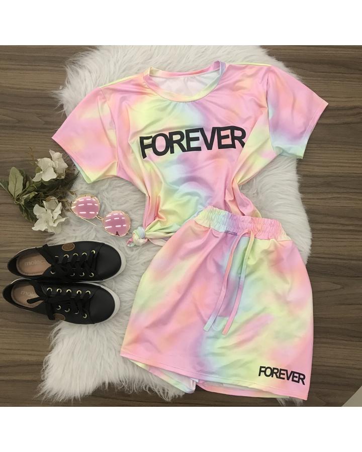 Conjunto Tie Dye   Shorts Saia e Blusa - Lilás/rosa