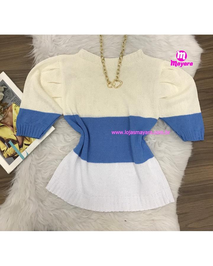 Blusa Trico Manga Curta 3 Cores - Creme, Azul, Branco