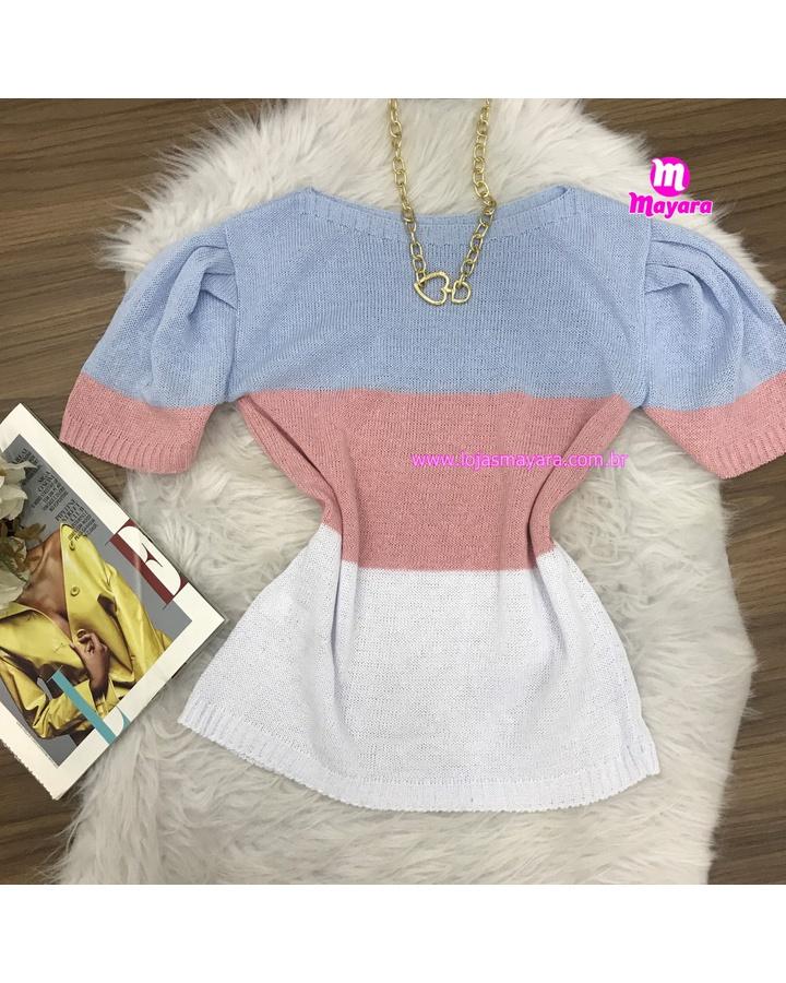 Blusa Trico Manga Curta 3 Cores - Azul, Rosa, Branco