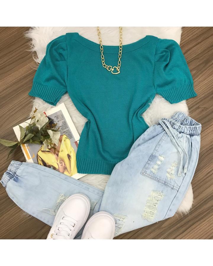 Blusa Trico Manga Curta Princesa | Lisa - Verde