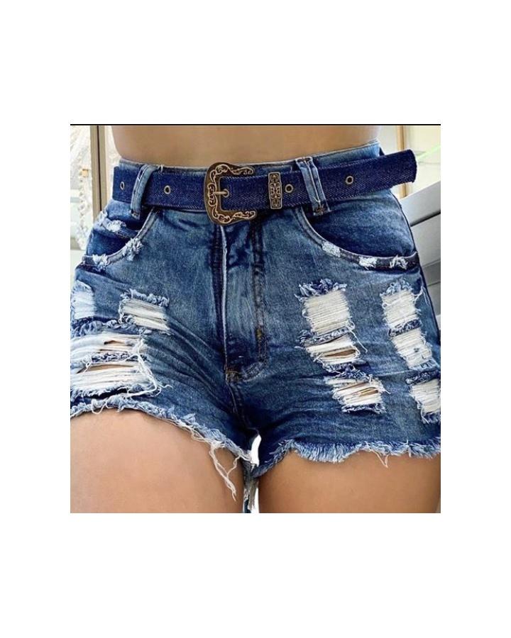 Shorts Jeans Melinda|com Cinto Mais Escurinho|rasgos - Jeans Cor Médio
