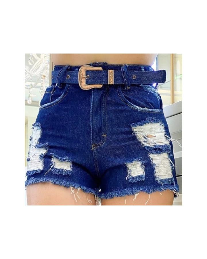 Shorts Jeans Melinda|com Rasgos e Cinto - Jeans Azul Escuro