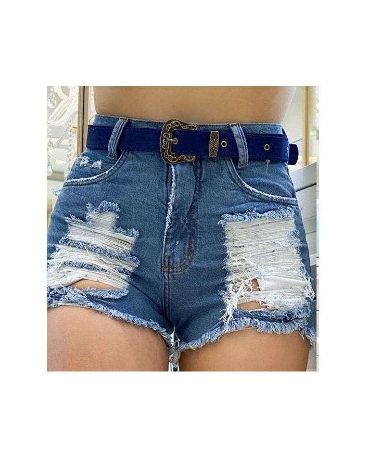Shorts Jeans Melinda|com Rasgos e Cinto Mais Escuro - Jeans Cor Claro