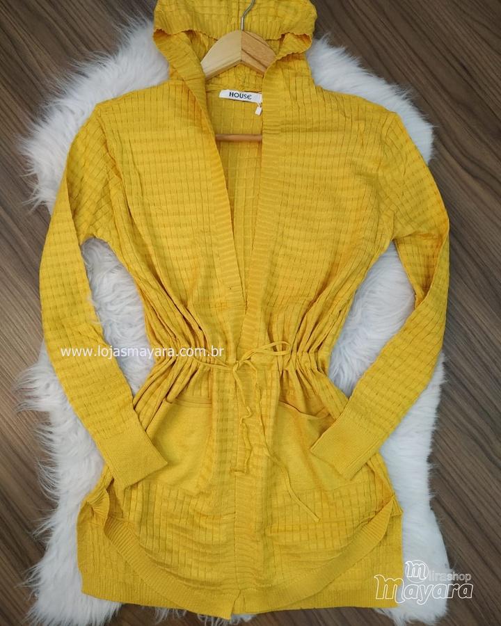 Cardigan Tricô Com Capuz Amarelo