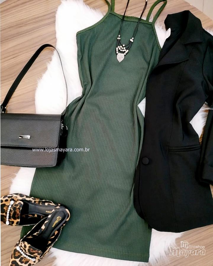 Vestido Canelado Verde Militar
