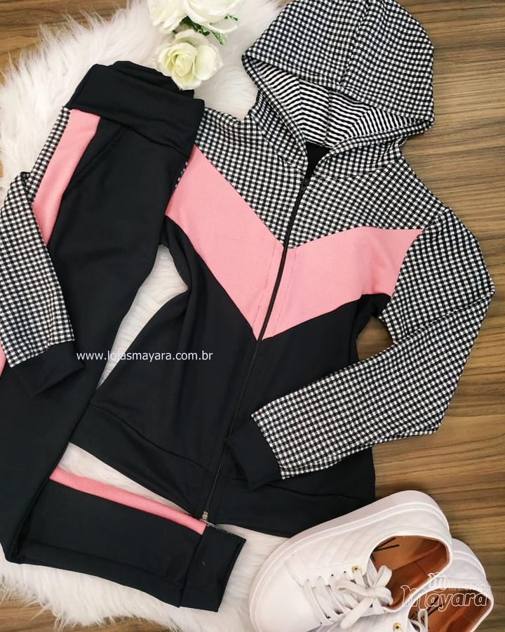 Conjunto Calça e Casaco Xadrez Preto, Rosa e Branco