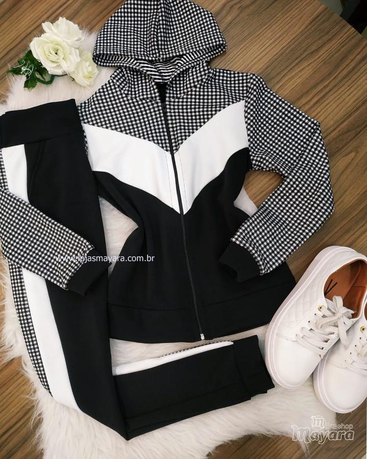 Conjunto Calça e Casaco Xadrez Preto com Branco
