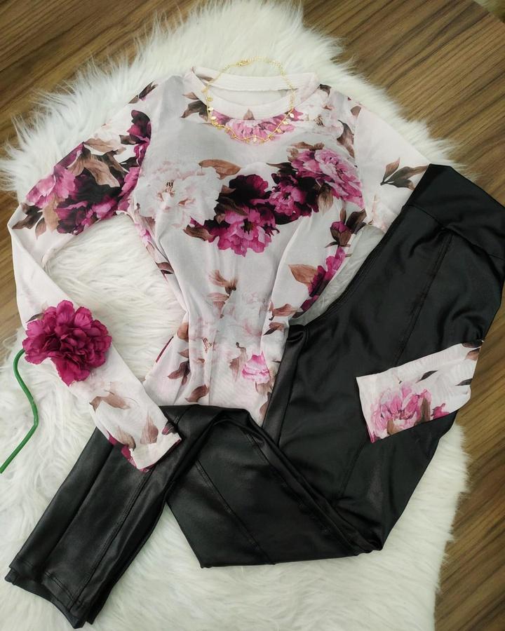 Body Tule Transparente Floral Branco