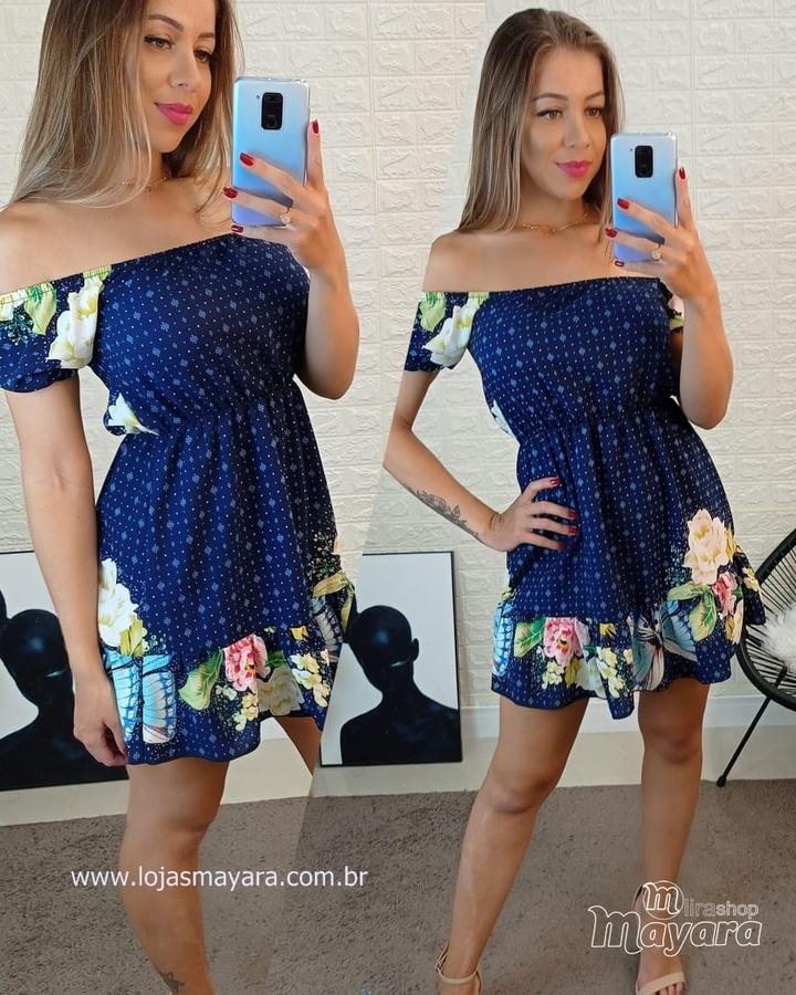 Vestido Ciganinha Estampado Azul Marinho