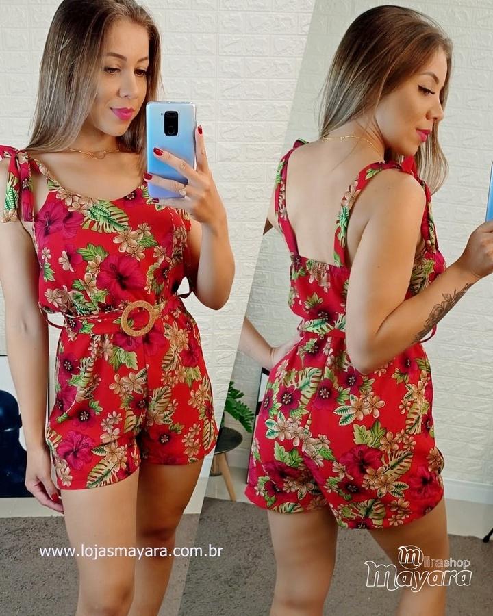 Macaquinho Floral Com Cinto Vermelho